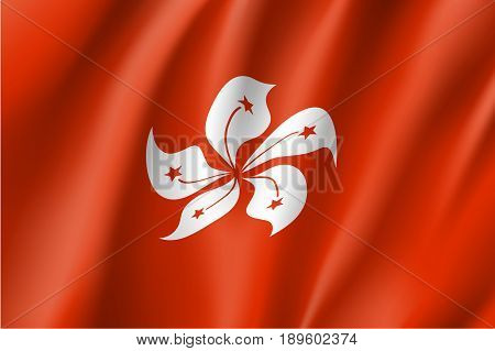 Waving flag of Hong Kong. Patriotic sign in official color and flower. Symbol of Special Administrative Region of the People's Republic of China. Vector icon illustration