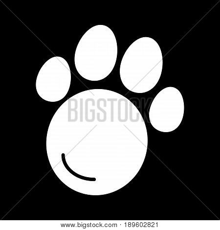 Pet paw simple vector icon. Black and white illustration of animal paw. Solid linear icon. eps 10
