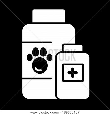 The pet medicines sign simple vector icon. Black and white illustration of veterinary hospital. Solid linear icon. eps 10