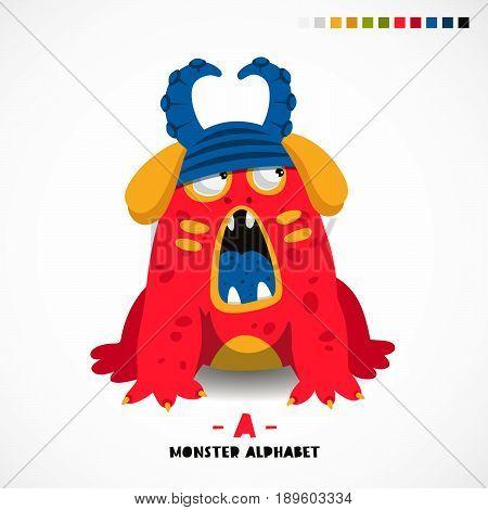 Monster alphabet. Letter A. Strange animal. Vector illustration on white background. Great children's print. The concept of a kid's toy.
