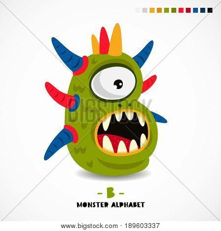 Monster alphabet. Letter B. Strange animal. Vector illustration on white background. Great children's print. The concept of a kid's toy.