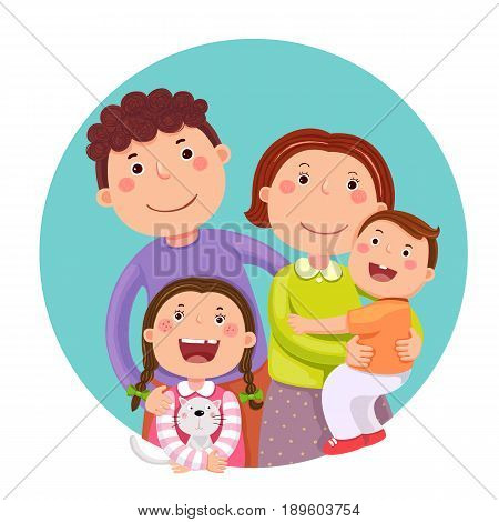 Portrait of four member happy family posing together. Parents with kids and pet