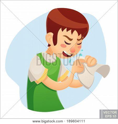 Vector - Sick Man. Unhappy Character. Vector Cartoon Illustration. Teen Boy With Handkerchief In Han