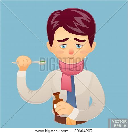 Vector Cartoon Illustration Of A Disease Throatache Sick Businessman Suffering Sore Throat