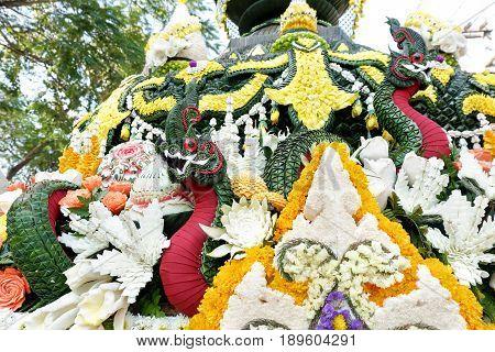 Naga made from banana leaf at Chiang Mai Flower Festival 2017 Thailand