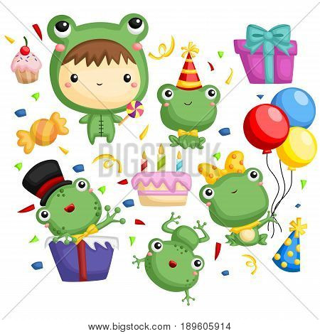 a frog birthday theme with present and cake