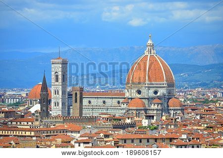View of the Florentine Cathedral in Italy from the mountain