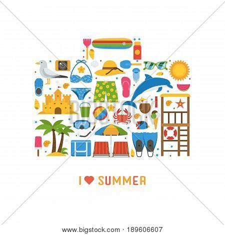 Love summer concept with beach icons stylized in travel suitcase. Sea vacation or summer holidays background with sunbathing accessories and water sports and activity icons.