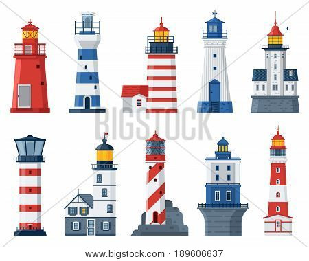 Cartoon lighthouse vector set. Red and blue sea guiding light houses buildings. Sea pharos or beacon collection isolated on white background. Searchlight towers of different types in flat design.