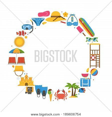 Summer travel frame with beach icons stylized in circle with space for text. Sea vacation or summer holidays background with sunbathing accessories and water sports and activity icons.