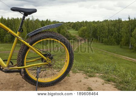Bicycle sport background - dirty fat-bake outdoor, horizontal photo