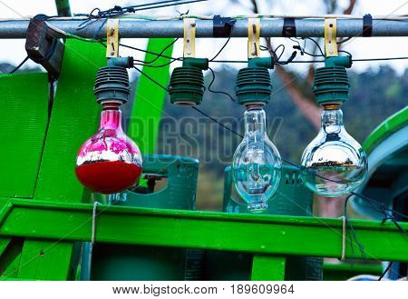 Abstract signal lamps on the sailing boat