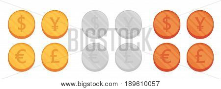 Flat coins vector set isolated on white background