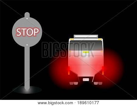 Bus stop and Red Light of Brake at Bus stop in Night Background Vector and Illustration