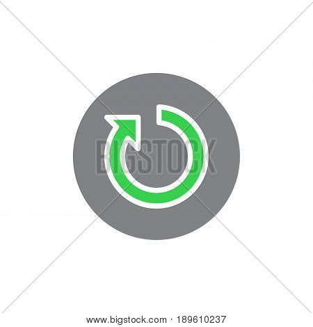 Reset button vector icon colorful sign isolated on white