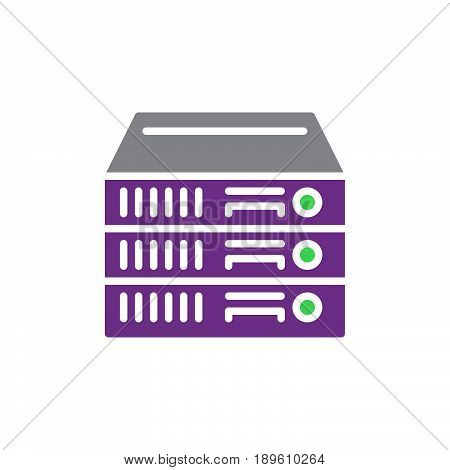 Rack Servers vector icon colorful sign isolated on white