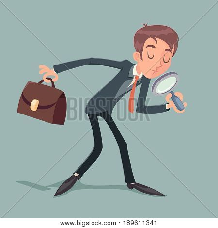 Businessman Character Magnifying Glass and Briefcase Search Quest Possibility Development Icon on Stylish Background Retro Cartoon Design Vector Illustration