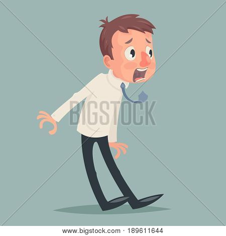 Shok Emotion Fear Horror Depression Stress Businessman Character Icon Retro Vintage Design Cartoon Vector Illustration