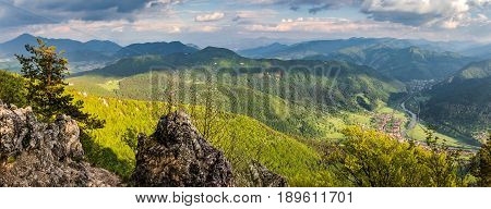 Beautiful Spring Hilly Landscape With River Valley - Slovakia