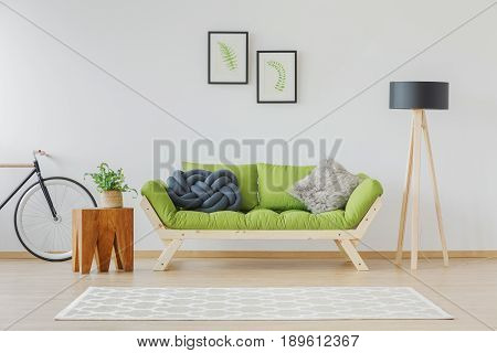Simplicity and nature accents in scandi living room poster