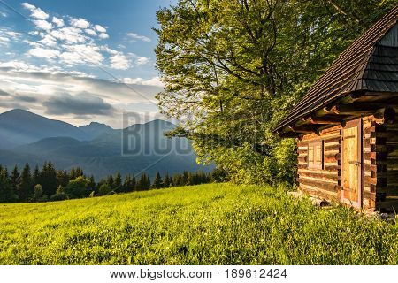 Historic Wooden Cottage And Evening On Mountains