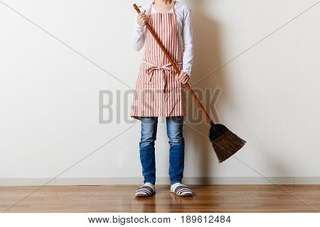 Asian Woman To Clean The Room
