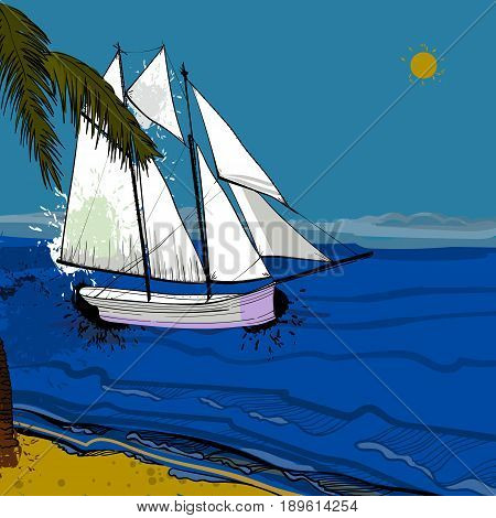 Vector illustration of front view of sea, Sailboat and beach with sand, palms, sun. Graphic postcard in flat lay style with spray. Boat on the water for summer holiday.