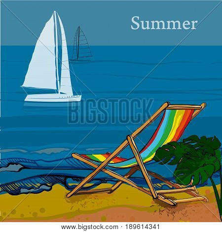 Vector illustration of front view of sea, Sailboat and beach with sand, palms, deck chair. Graphic postcard in flat lay style with spray. Boat on the water for summer holiday.