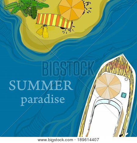 Vector illustration of top view of sea, ship and beach with sand, umbrellas, palms. Graphic postcard in flat lay style. Boat on the water for summer holiday.