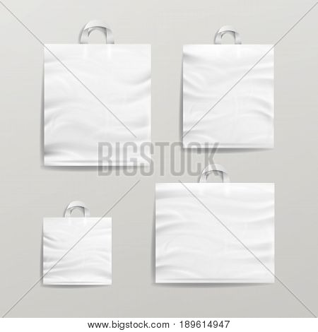 Empty Reusable Plastic Shopping Realistic Bags Set With Handles. Close Up Mock Up. Vector