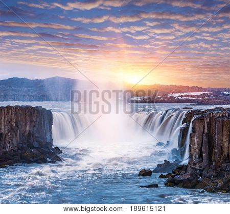 Selfoss waterfall. Beauty of the world. Wonderful landscape in Iceland. Beautiful dawn. Famous Tourist Attraction