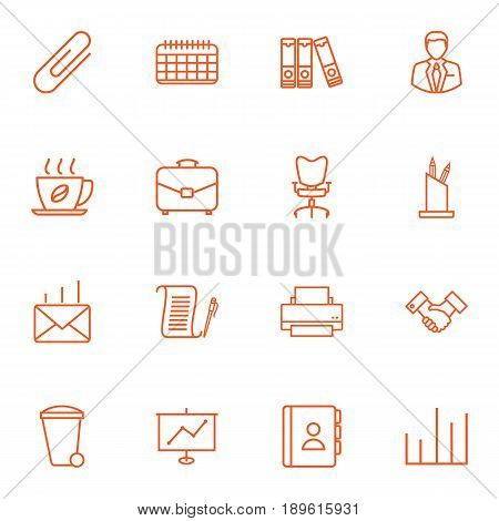 Set Of 16 Bureau Outline Icons Set.Collection Of Chart, Partnership, Post And Other Elements.