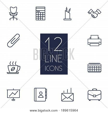 Set Of 12 Bureau Outline Icons Set.Collection Of Show, Pen Storage, Partnership And Other Elements.