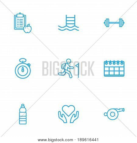 Set Of 9 Bodybuilding Outline Icons Set.Collection Of Barbell, Water Bottle, Stopwatch And Other Elements.