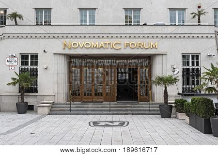 VIENNA, AUSTRIA-JUNE 01, 2017: Novomatic Forum art deco building, Vienna