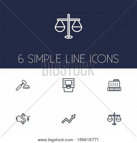 Set Of 6 Finance Outline Icons Set.Collection Of Auction, Justice, Grow Up And Other Elements.