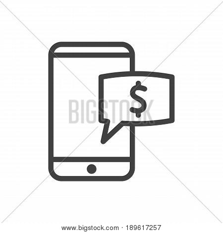 Isolted Mobile Banking Outline Symbol On Clean Background. Vector Electron Payment  Element In Trendy Style.