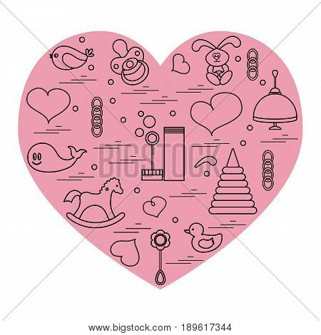 Vector Illustration Kids Elements Arranged In A Heart: Bird, Whale, Pacifier, Bubbles, Pyramid, Bean
