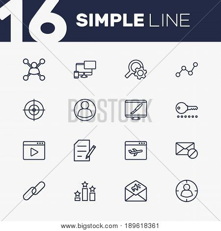 Set Of 16 Search Outline Icons Set.Collection Of Running Title, Copyright, Stock Exchange And Other Elements.