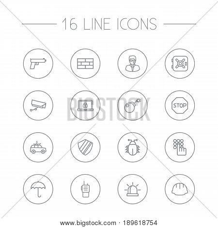 Set Of 16 Security Outline Icons Set.Collection Of Keypad, Weapon, Supervision And Other Elements.