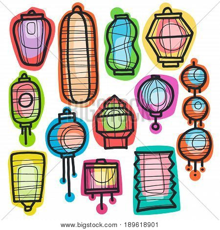 Different beautiful colour doodle Chinese lanterns. Asian holiday and festival paper lantern. Hand drawn elements for your design, web, posters, banners, postcards, advertising.