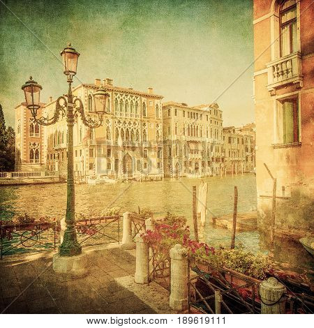 Vintage image of Grand Canal Venice Italy
