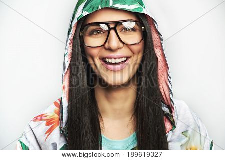 Young Cheerful Woman In Casual Urban Clothes