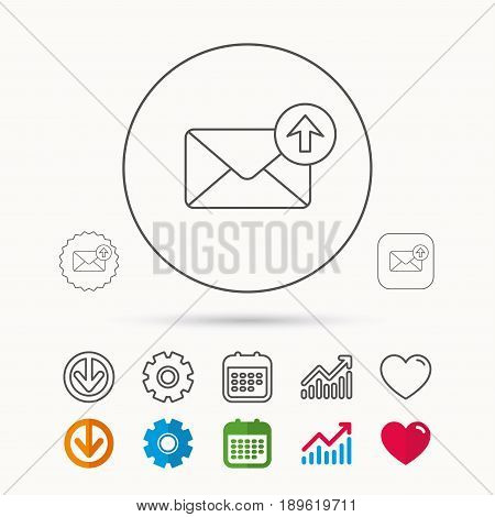 Mail outbox icon. Email message sign. Upload arrow symbol. Calendar, Graph chart and Cogwheel signs. Download and Heart love linear web icons. Vector