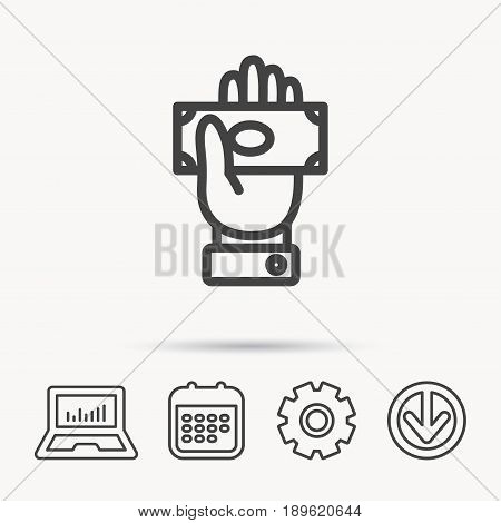 Money icon. Cash in giving hand sign. Payment symbol. Notebook, Calendar and Cogwheel signs. Download arrow web icon. Vector