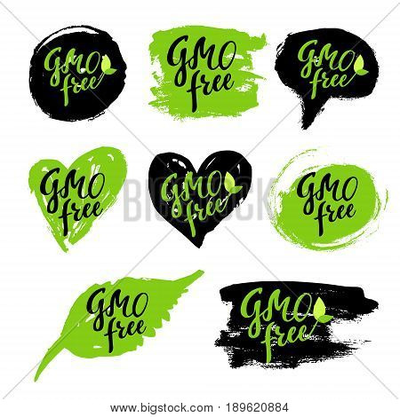 Gmo free eco set: hand drawn logos, labels with spots. Vector illustration eps 10 for food, drink, restaurants, menu, markets, organic products, package. Brush lettering calligraphy
