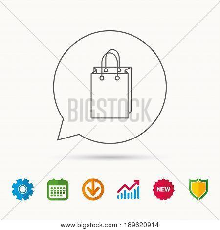 Shopping bag icon. Sale handbag sign. Calendar, Graph chart and Cogwheel signs. Download and Shield web icons. Vector