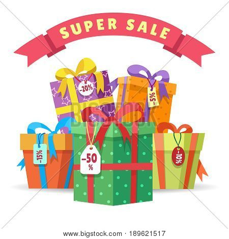Sale present boxes vector illustration. Big pile of presents isolated on white background. Gifts in fall paper with special discount offer tokens