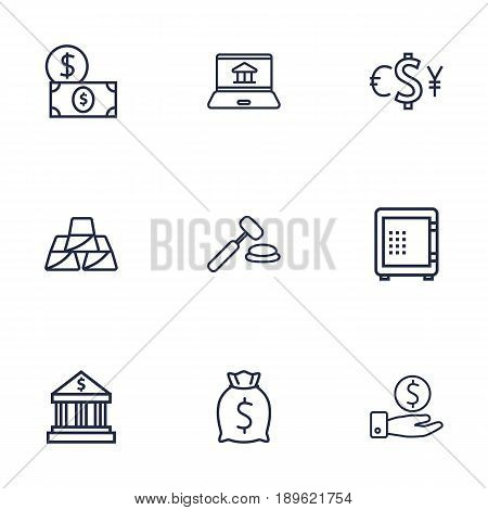 Set Of 9 Finance Outline Icons Set.Collection Of Savings, Golden Bars, Moneybag And Other Elements.
