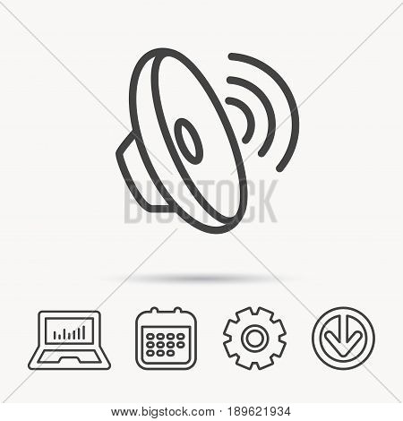 Sound waves icon. Audio speaker sign. Music symbol. Notebook, Calendar and Cogwheel signs. Download arrow web icon. Vector